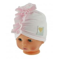 Czapka turban bawełniana 44-48 jasno różowa